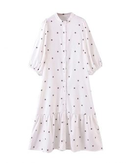 Fashion Floral Print Stand Collar Casual Long Dress