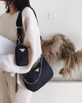 Solid Color Oxford Waterproof Shoulder Messenger Bag