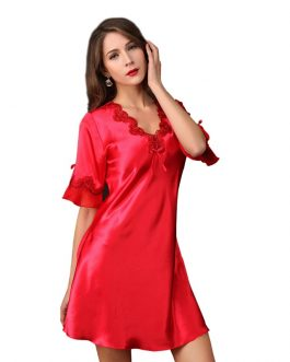 Faux Silk Lace Sexy Short Sleeve V-neck Nightgown