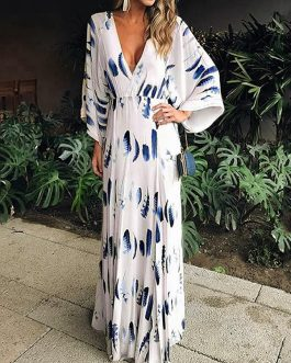Feather Print Batwing Sleeve V-neck Maxi Dress