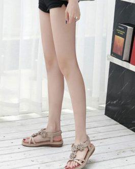 Flat Sandals Flowers Sandals Comfy T-Type Bandage Open Toe Sandals