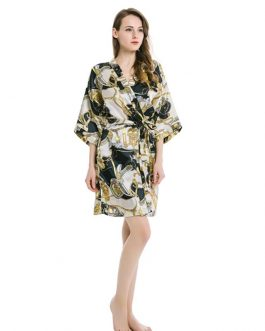 Floral Bathrobe Faux Silk Sexy Nightdress