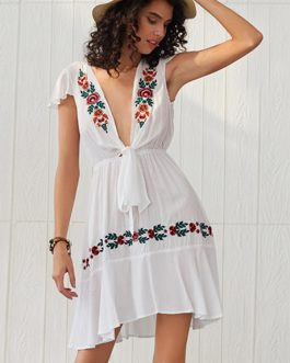 Floral Embroidered Bandage V-Neck Bohemian Ethnic Slim Dress