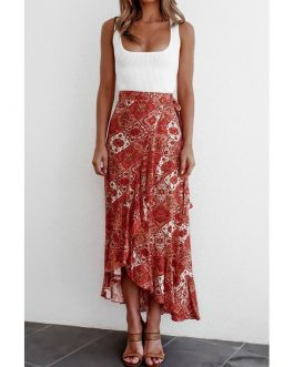 Floral High Waist Ruffled Long Split Skirt