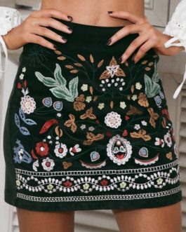 Floral Print Corduroy Embroidered Skirt Bottoms