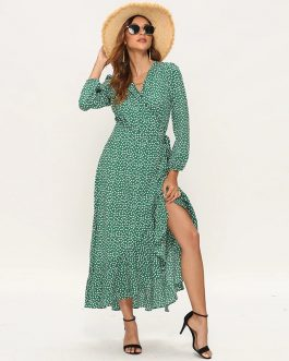 Floral Print Long Sleeve Split Wrap Maxi Dresses