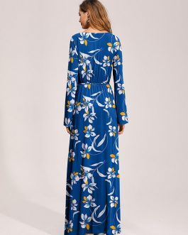 Floral V Neck Waist Tie Long Sleeves Maxi Print Dress