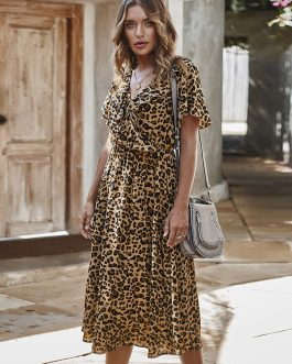 Flouncing Leopard Print Short Sleeve V-neck Casual Dress