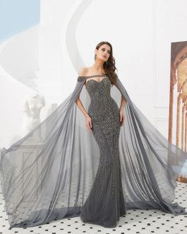 Heavy Beaded Luxury Formal Gowns With Cloak