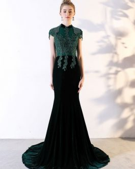 High Collar Lace Beaded Mermaid Luxury Evening Dresses