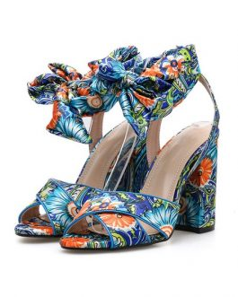 High Heel Sandals Open Toe Floral Printed Lace Up Block Heel Sandal Shoes