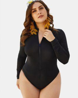 High Neck Long Sleeve Zip Up Swimwear