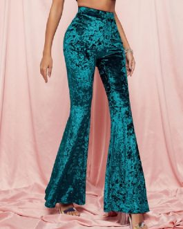 High Waist Bell Bottom Pants Stretchy Velour Flare Pants