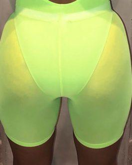 High Waist Mesh Semitransparent Beach Running Slim Yoga Shorts