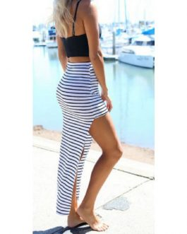High Waist Striped Irregular Mini Skirt