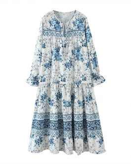 Hollow Out Bow Floral Print Loose Casual Dress