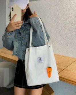 Corduroy Shoulder Shopping Bag Cute Radish Travel Totes