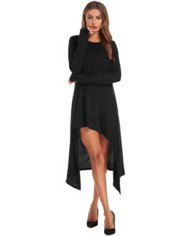Irregular Hem Gloves Tuxedo Casual Dress