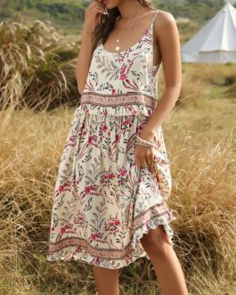 Jewel Neck Sleeveless Floral Print Backless Beach Dress