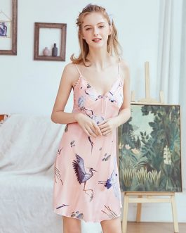 Kimono Sling Faux Silk V-neck Animal Print Nightgown
