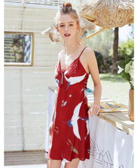 Kimono Sling Faux Silk V-neck Animal Print Nightgown