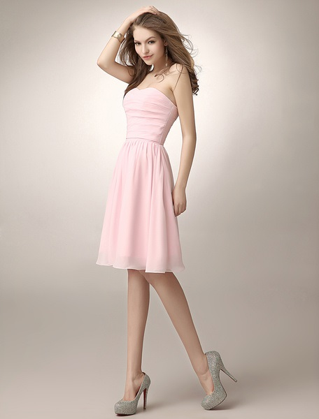 Glamorous Sweetheart Ruched Knee Length Chiffon Dress With