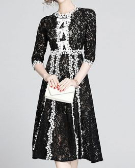 Lace Dresses Jewel Neck 3/4 Length Sleeves Layered Lace Retro Floral Print Dresses