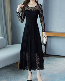 Lace Dresses Jewel Neck Long Sleeves Layered Cut Out Casual Floral Print Dresses