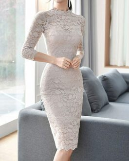 Lace Dresses Stand Collar Half Sleeves Layered Cut Out Sexy Dresses