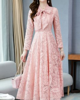Lace Stand Collar Long Sleeves Layered Lace Up Classic Floral Print Dresses