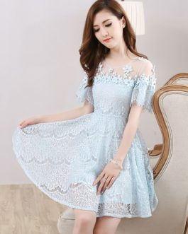 Lace Homecoming Mini Prom Short Sleeve Flowers Beading Party Dresses