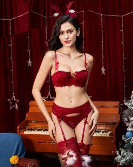 Lace Lingerie Bra Panties Garter Stocking Antlers Set