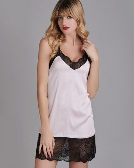 Lace-Trim Criss Cross Backless Nightgown