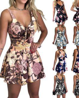 Lace Up Print Floral Casual Short Jumpsuit