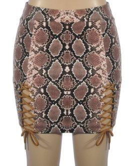 Lace Up Animal Print Bodycon Mini Skirt