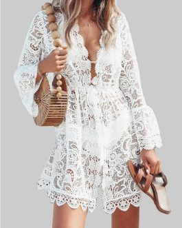 Lace V-neck Ruffle Beach Bikini Hollow Out Causal Dress