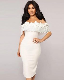 Lotus Leaf Lace Bodysuit Long Club Party Dress
