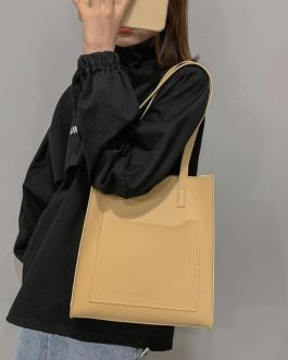 Simple Large Capacity Durable Solid Color Shopping Totes Bag