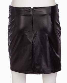 Leather Like Buttons Asymmetrical Bodycon Mini Skirt