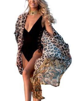Leopard Bikini Cover-Up Drawstring Waist Dress