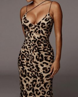 Leopard Snake Print Straps Sleeveless Casual Bodycon Dress
