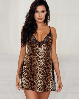 Leopard Spaghetti Strap V-Neck Nightgown