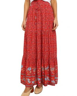 Long Raised Waist Printed Skirt For Women