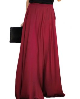 Long Raised Waist Skirt For Women