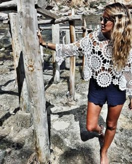 Long Sleeve Hollow Bikini Cover-ups Shirt