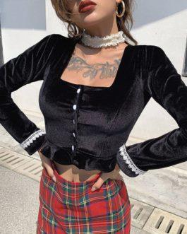 Long Sleeve Lace Velvet Casual Ruffle Button Short Shirt