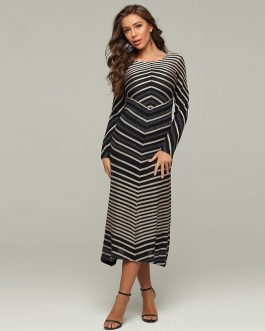 Sexy Stripe Stitching Evening Skinny Dress