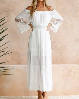 Long Sleeves Off The Shoulder Lace Maxi Dress