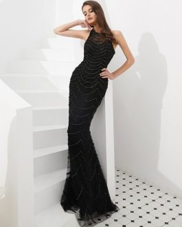 Luxury Beaded Formal Evening Gowns With Train