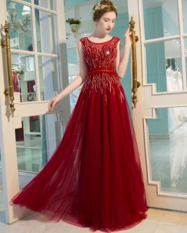 Luxury Tulle Beading Floor Length Formal Evening Gowns